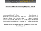 Christmas and New Year Dates 2019/2020